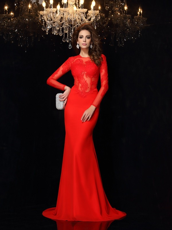 Chiffon Sheath Court Train Long Sleeves Scoop Red Prom Dresses
