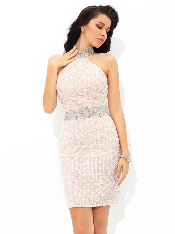 Halter Short/Mini Champagne Homecoming Dresses with Beading