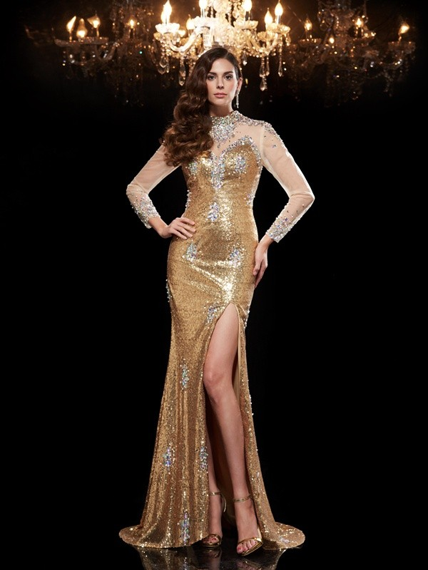 Mermaid High Neck Brush Train Gold Prom Dresses