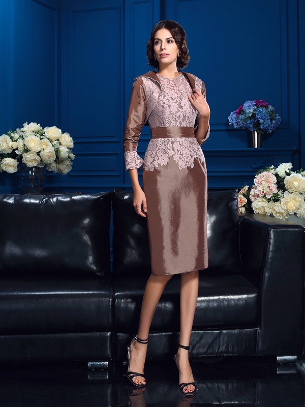 Taffeta Knee-Length Short Sleeves Jewel Other Mother of the Bride Dresses