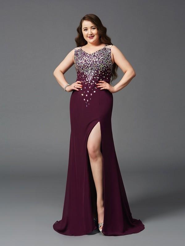 Sheath Straps Brush Train Burgundy Prom Dresses with Rhinestone