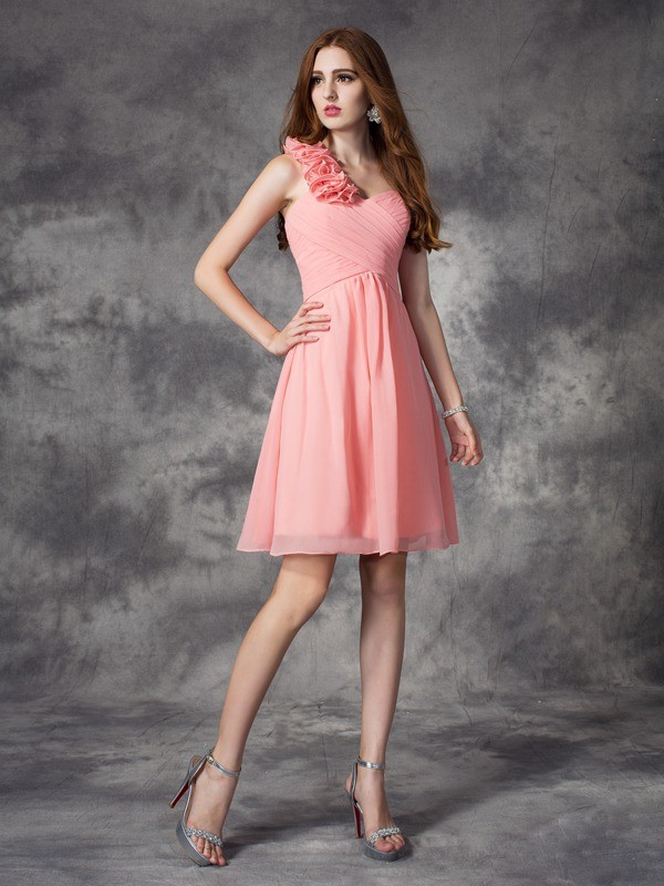 Chiffon A-Line Short/Mini One-Shoulder Pink Bridesmaid Dresses