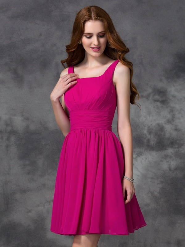 A-Line Square Short/Mini Fuchsia Bridesmaid Dresses
