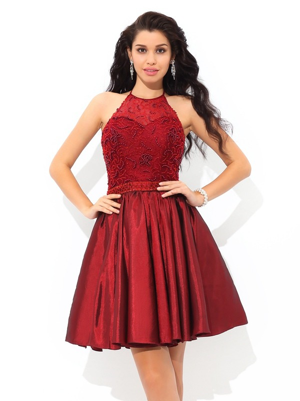 A-Line Halter Short/Mini Burgundy Homecoming Dresses