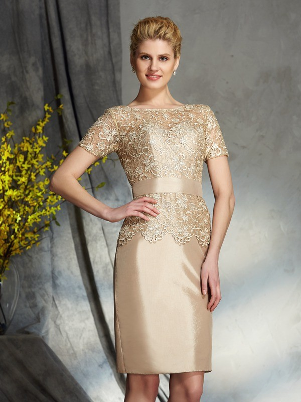 Taffeta Short Sleeves Bateau Short/Mini Silver Mother of the Bride Dresses