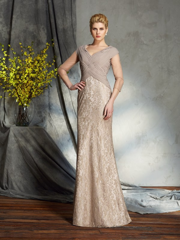 3/4 Sleeves V-neck Floor-Length Silver Mother of the Bride Dresses