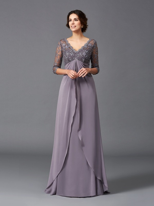 3/4 Sleeves V-neck Floor-Length Lilac Mother of the Bride Dresses