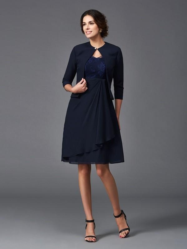 Half Sleeves V-neck Knee-Length Dark Navy Mother of the Bride Dresses