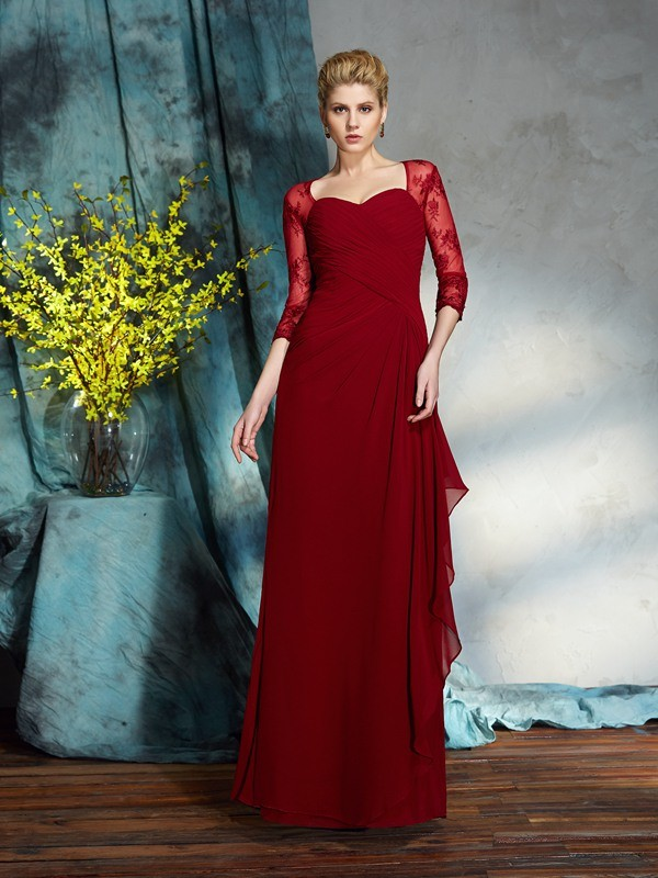 3/4 Sleeves Floor-Length Red Mother of the Bride Dresses with Lace
