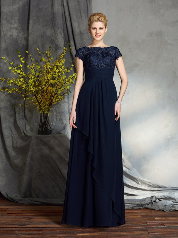 Chiffon Bateau Floor-Length Dark Navy Mother of the Bride Dresses