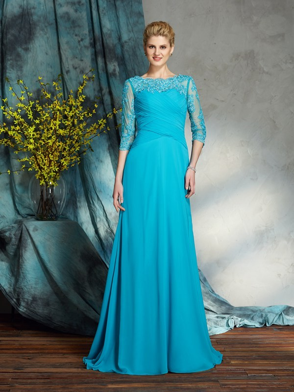 3/4 Sleeves Bateau Floor-Length Blue Mother of the Bride Dresses