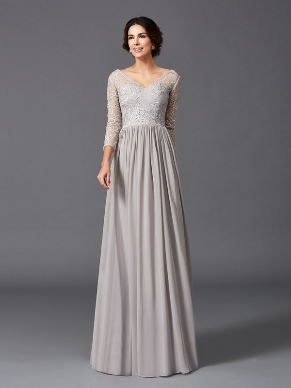 3/4 Sleeves V-neck Floor-Length Grey Mother of the Bride Dresses with Ruffles