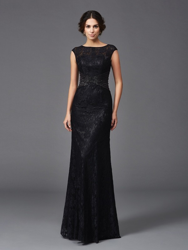 Sheath Lace Scoop Floor-Length Black Mother of the Bride Dresses