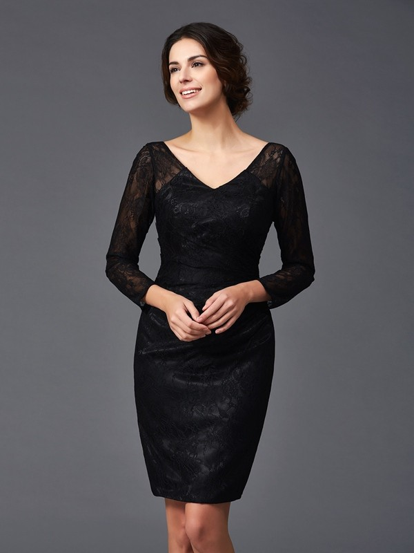Sheath V-neck Knee-Length Black Mother of the Bride Dresses
