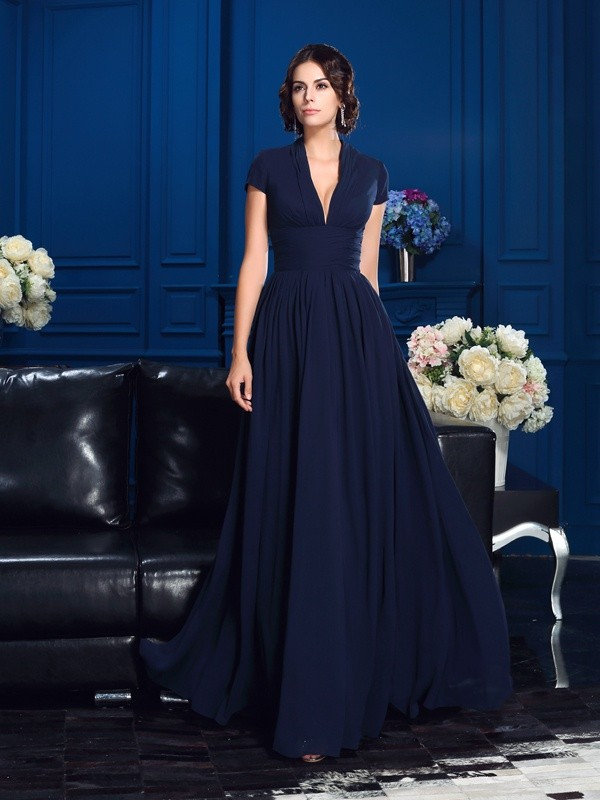 Floor-Length Dark Navy V-neck Mother of the Bride Dresses with Applique