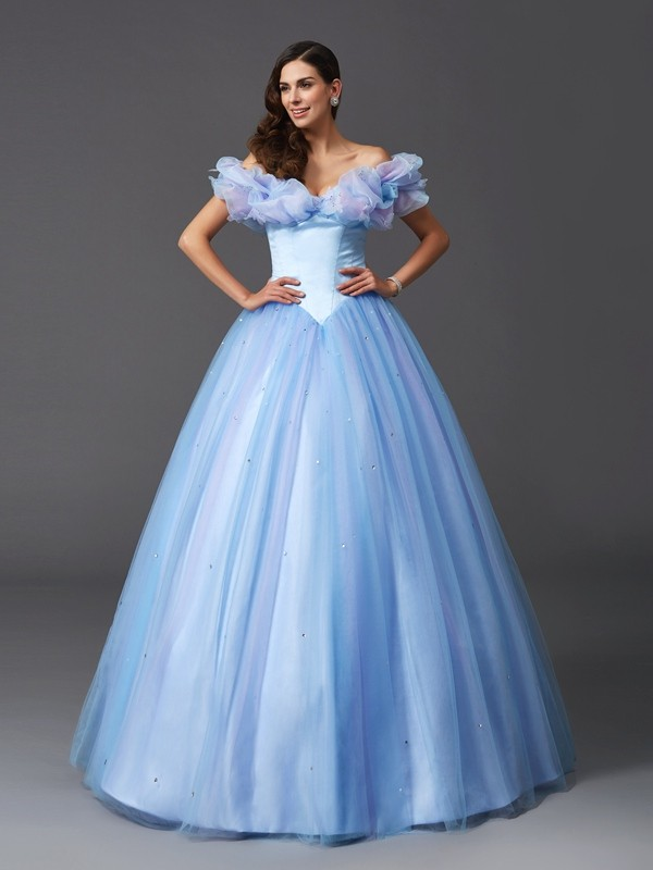 Net Off-the-Shoulder Floor-Length Sage Prom Dresses