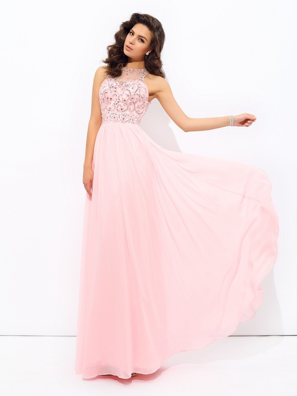 A-Line Jewel Floor-Length Pink Prom Dresses