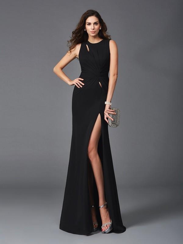 Black Scoop Chiffon Floor-Length Prom Dresses