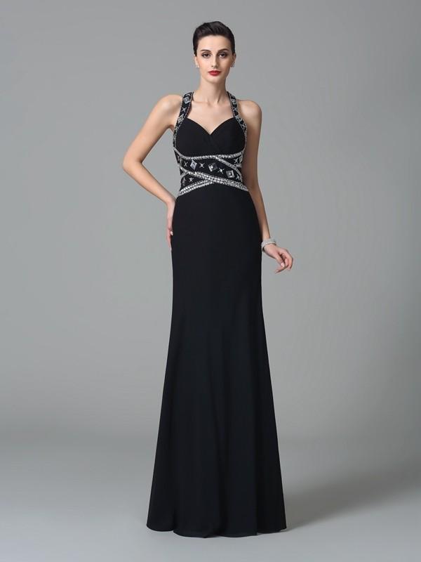 Chiffon Straps Floor-Length Black Prom Dresses