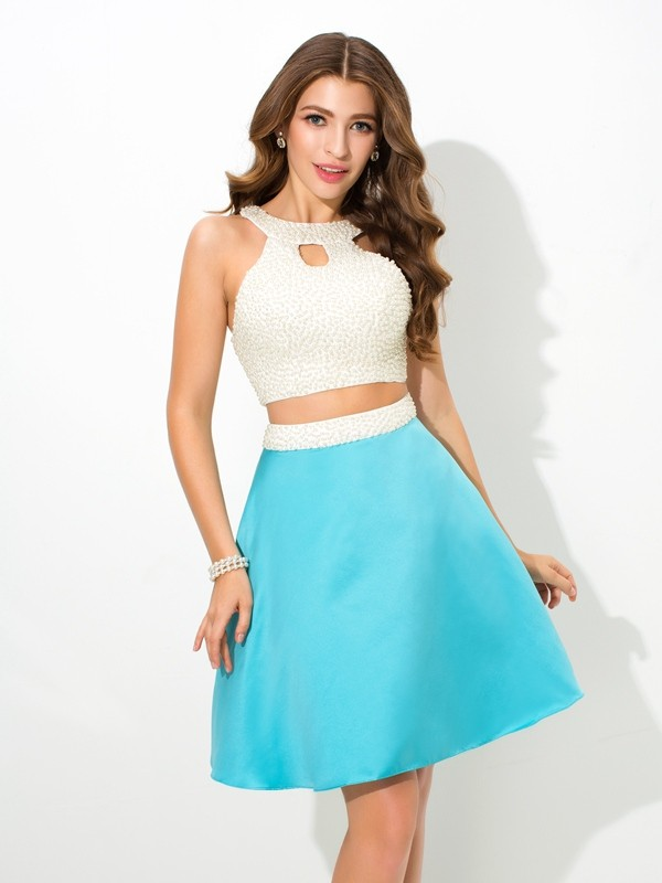 A-Line Short/Mini Blue Prom Dresses with Beading