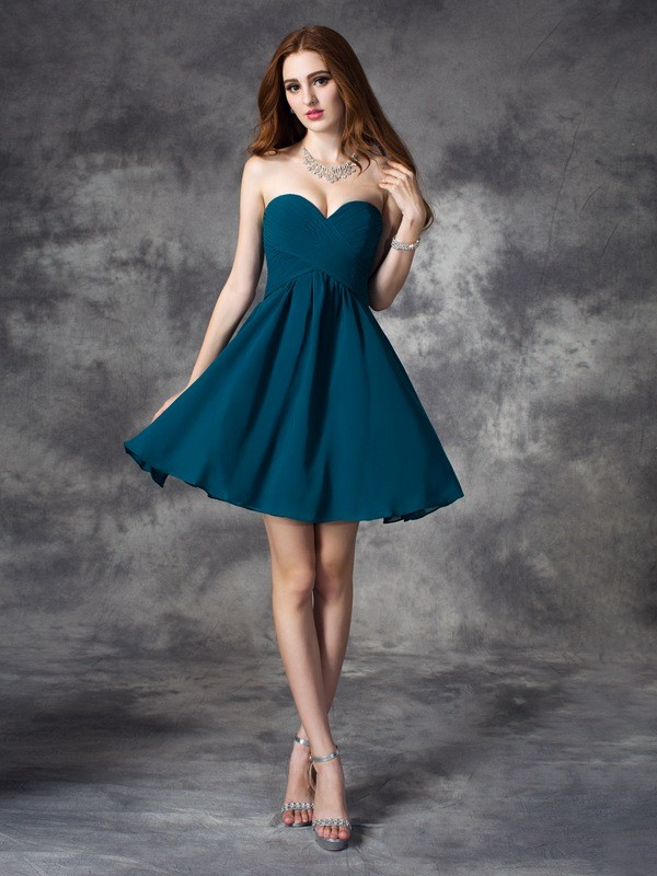 A-Line Chiffon Sweetheart Short/Mini Hunter Green Homecoming Dresses