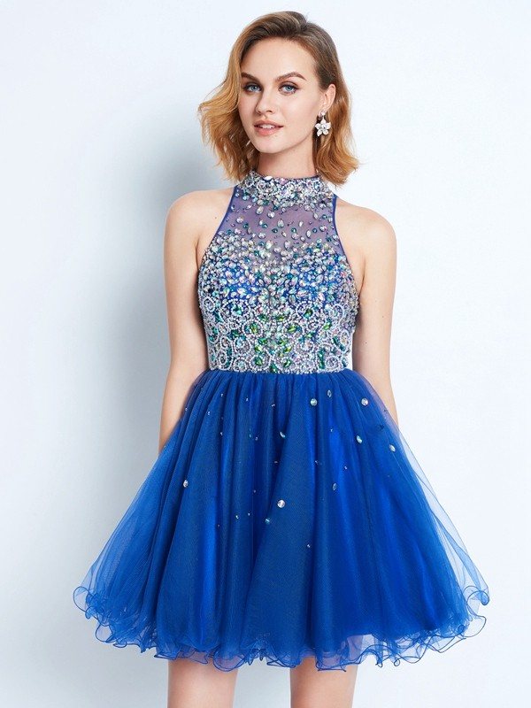 A-Line Net High Neck Short/Mini Royal Blue Homecoming Dresses