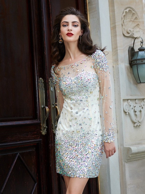 Sheath Net Long Sleeves Scoop Short Homecoming Dresses with Rhinestone