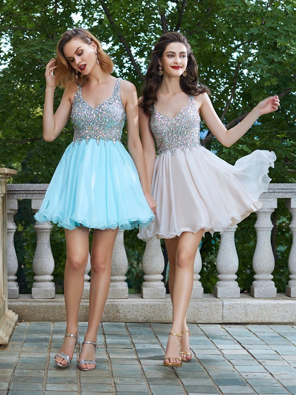 Chiffon Straps Short/Mini Light Sky Blue Homecoming Dresses