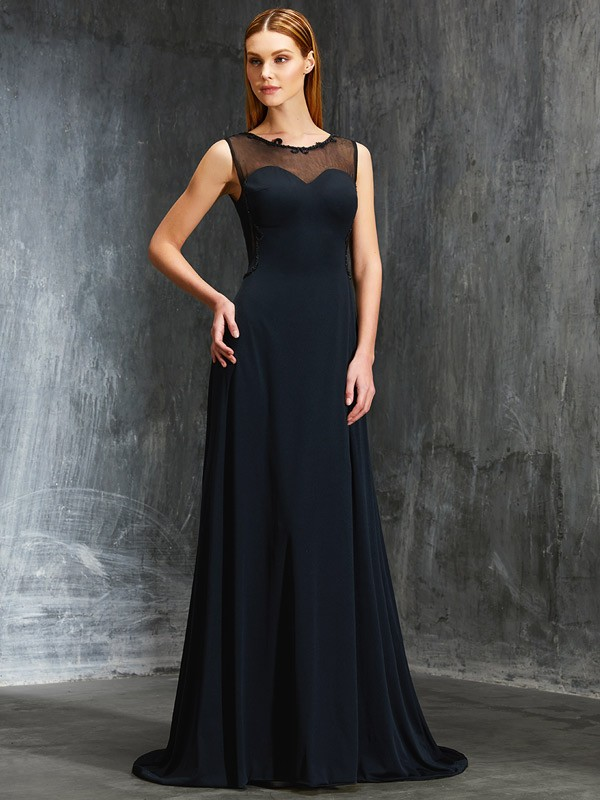 Dark Navy Scoop Spandex Brush Train Prom Dresses