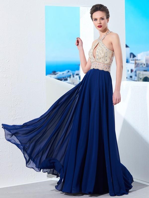 A-Line Chiffon Straps Floor-Length Dark Navy Prom Dresses