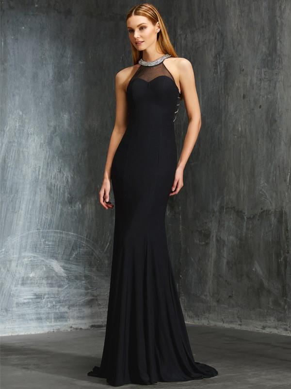 Spandex Jewel Brush Train Black Prom Dresses