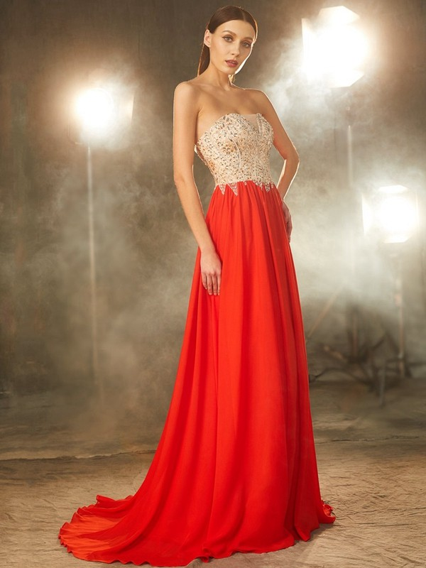 Strapless Brush Train Red Prom Dresses with Beading
