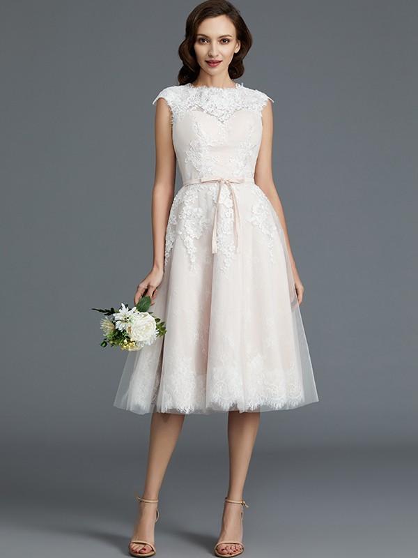A-Line Bateau Knee-Length Ivory Wedding Dresses