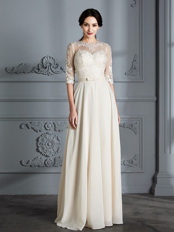 Half Sleeves A-Line Scoop Floor-Length Ivory Wedding Dresses
