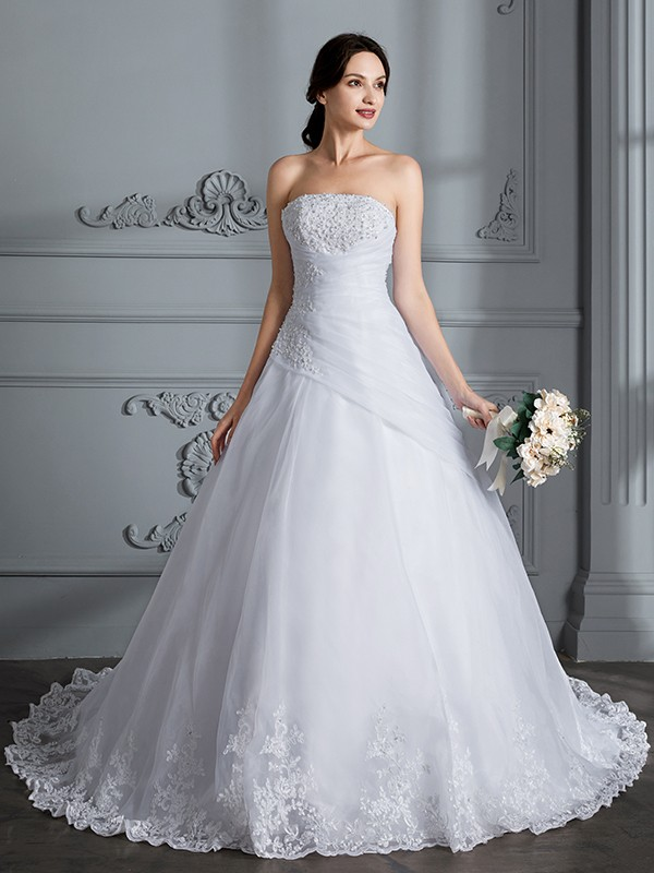 White Ball Gown Strapless Court Train Wedding Dresses