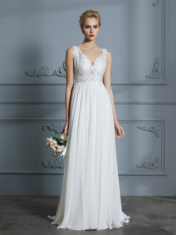 A-Line V-neck Brush Train Ivory Wedding Dresses with Lace