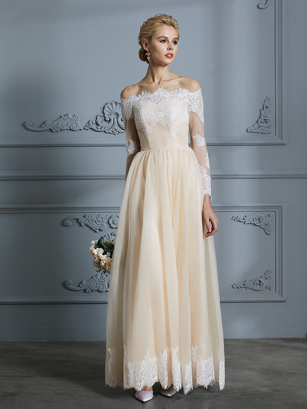Tulle Floor-Length Long Sleeves Off-the-Shoulder Champagne Wedding Dresses