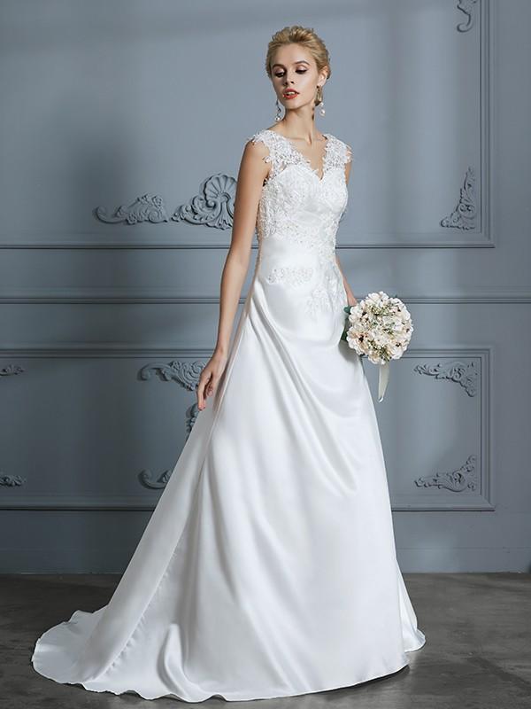 A-Line V-neck Brush Train Ivory Wedding Dresses