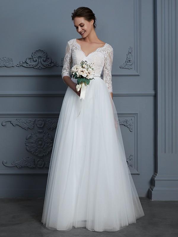 A-Line 3/4 Sleeves V-neck Floor-Length Ivory Wedding Dresses