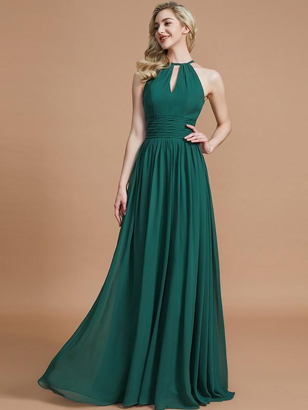 A-Line Scoop Floor-Length Dark Green Bridesmaid Dresses