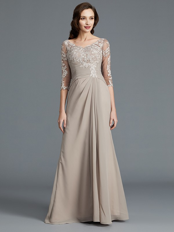 Half Sleeves Scoop Floor-Length Grey Mother of the Bride Dresses