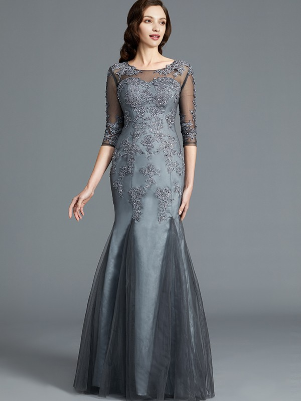 Sheath Scoop Floor-Length Grey Mother of the Bride Dresses with Applique