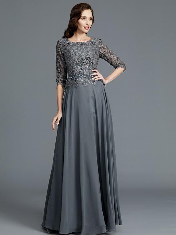 Grey A-Line Scoop Floor-Length Mother of the Bride Dresses