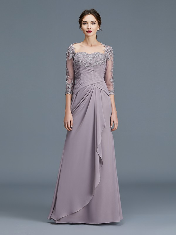 Sheath Sweetheart Floor-Length Lilac Mother of the Bride Dresses with Ruffles