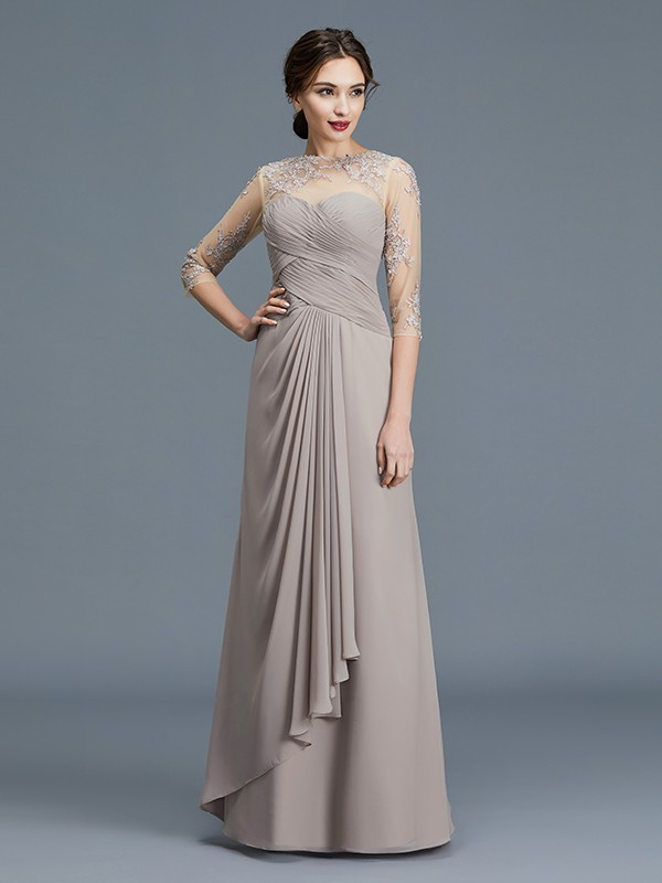 Sheer Neck Floor-Length Silver Mother of the Bride Dresses with Ruffles
