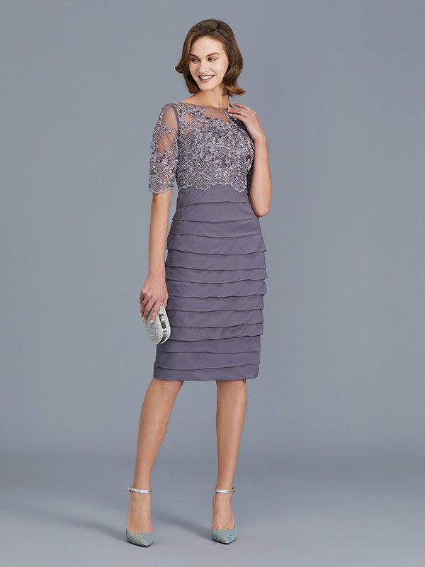 Sheath Scoop Knee-Length Grape Mother of the Bride Dresses