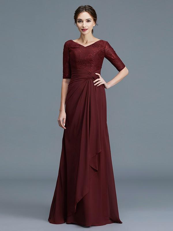 Floor-Length Burgundy Half Sleeves V-neck Mother of the Bride Dresses with Ruffles