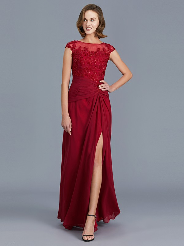 Chiffon Scoop Floor-Length Burgundy Mother of the Bride Dresses