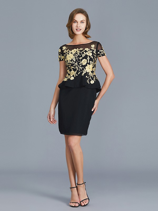 Black Sheath Scoop Knee-Length Mother of the Bride Dresses with Ruffles