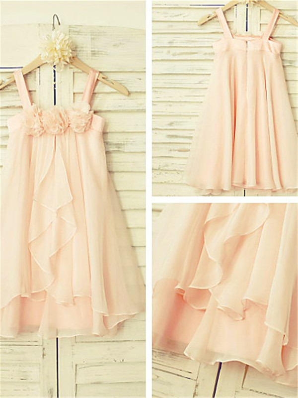 A-Line Spaghetti Straps Tea-Length Pearl Pink Flower Girl Dresses